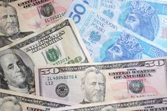 Dollar and zloty bills Royalty Free Stock Image