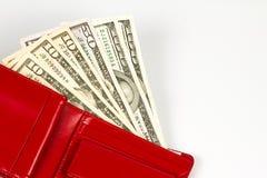 Dollaranmerkungen in der Geldbörse Stockbild