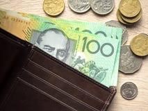 DollarAustralien pengar i fack Fotografering för Bildbyråer
