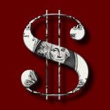 Dollarbankbiljet op Dollarsymbool Stock Fotografie