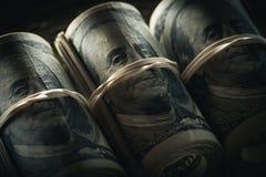 Dollarbankbiljetten in broodjes Royalty-vrije Stock Afbeelding