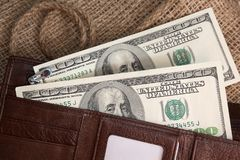 Dollarbankbiljetten in een beurs Royalty-vrije Stock Fotografie
