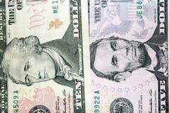 Dollarbankbiljetten 5 en 10 Royalty-vrije Stock Foto's