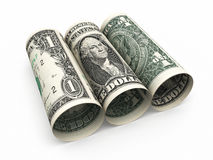 1 dollarbankbiljetten het rollen vector illustratie