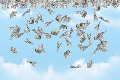 Dollarbankbiljetten het Vallen Royalty-vrije Stock Foto's
