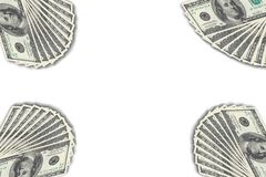 Dollarbankbiljetten op de witte achtergrond stock afbeelding