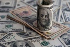 Dollarbanknote-Geldhintergrund lizenzfreie stockfotos