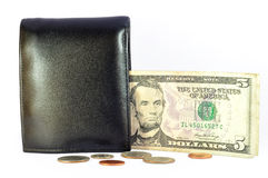 Dollarbanknote und -mappe Stockfotos