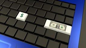 Dollarbanknote und -zeichen auf der Laptoptastatur Lizenzfreie Stockfotografie