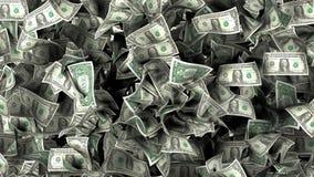 Dollarbanknoten in einem Stapel Stockbild