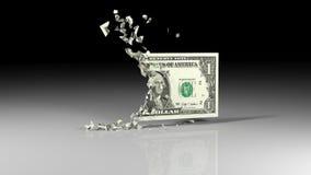 Dollarbanknoten fällt auseinander Stockfotos