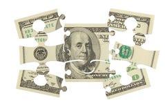 Dollarbanknoten-Geldpuzzlespiel lizenzfreie stockfotos