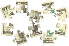 Dollarbanknoten-Geldpuzzlespiel Stockfotografie