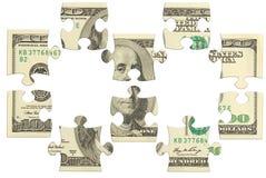 Dollarbanknoten-Geldpuzzlespiel stockfotos