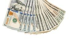100 Dollarbanknoten lokalisiert auf Weiß Lizenzfreie Stockfotos