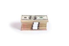 Dollarbanknoten und -Euro Lizenzfreies Stockfoto