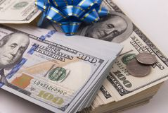 Dollarbanknoten und -münzen lizenzfreies stockbild