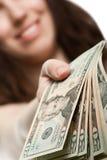 Dollarbargeld in der Hand Lizenzfreies Stockfoto