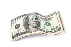 Dollarbills på white. Arkivbild