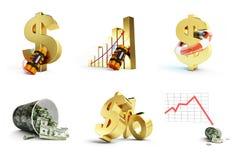 Dollarcrisis op witte achtergrond wordt geplaatst die Stock Foto