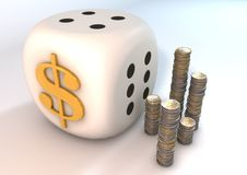 DollarDice. 3 Dimensions media significant risk of doing businesses Stock Image