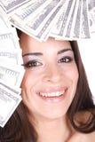 dollaren för 100 tar den attraktiva bills mycket kvinnan Fotografering för Bildbyråer