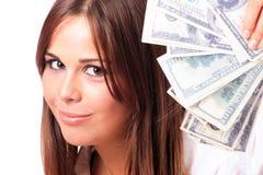 dollaren för 100 tar den attraktiva bills mycket kvinnan Royaltyfria Foton