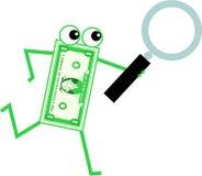 dollaren förstorar stock illustrationer