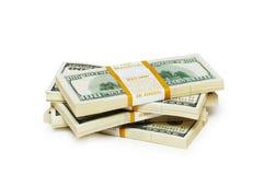 dollaren staplar tio tusen Arkivbilder