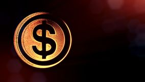 Dollaren undertecknar in cirklar Finansbakgrund av lysande partiklar animering för ögla 3D med djup av fältet, bokeh och kopian stock video