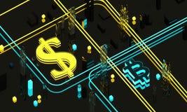 Dollaren undertecknar in guling och Bitcoin blått Arkivfoton