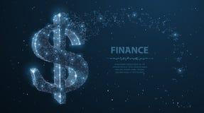 Dollaren undertecknar Polygonal ingreppskonst ser som konstellation Begreppsillustration eller bakgrund Royaltyfri Foto