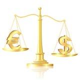 Dollaren väger mycket än Euro på scales. Royaltyfri Foto