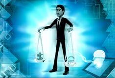 Dollareurobalancenkonzept des Mannes 3d Lizenzfreies Stockfoto