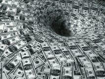 Dollarfluß in schwarzes Loch Lizenzfreies Stockbild