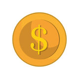 Dollargeld-Goldikone Stockfoto