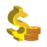 Dollargeld-Goldikone Stockbild