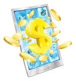 Dollargeld-Telefonkonzept Stockfoto