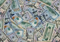 Dollargeldbanknoten-Beschaffenheitshintergrund Stockfotos