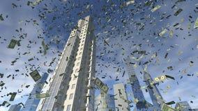 Dollargeldfall von den Geschäftsgebäuden Stockfoto