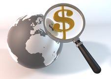 DollarGlass-wereld Stock Afbeelding