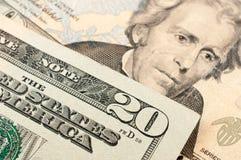 20 dollari americani Fotografia Stock Libera da Diritti