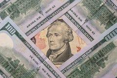 10 dollari americani Fotografie Stock Libere da Diritti