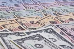 Dollari americani astratti del fondo dei soldi delle denominazioni differenti Immagine Stock