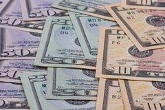 Dollari americani astratti del fondo dei soldi delle denominazioni differenti Fotografia Stock Libera da Diritti