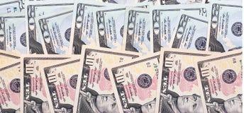 Dollari americani astratti del fondo dei soldi delle denominazioni differenti Fotografie Stock Libere da Diritti