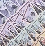 Dollari americani astratti del fondo dei soldi delle denominazioni differenti Immagini Stock Libere da Diritti