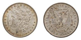 Dollari americani d'argento 1880 di Morgan isolati fotografia stock libera da diritti