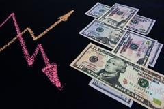 Dollari americani di tassi di cambio di concetto di tendenze fotografie stock libere da diritti