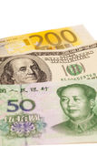 Dollari americani, euro e fatture cinesi europee di yuan Fotografia Stock